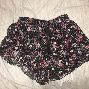 Flowery Black Shorts